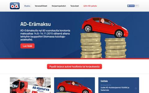 Screenshot of Home Page ad-finland.com - Autokorjaamo | Autohuolto | Autovaraosat - AD - captured Oct. 10, 2015