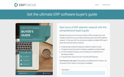 Screenshot of Landing Page erpfocus.com - The Ultimate ERP Software Buyer's Guide - Free Guide from ERP Focus - captured Sept. 7, 2016