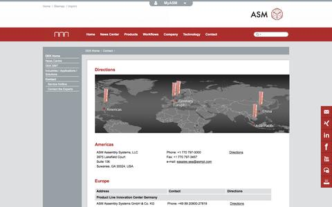 Screenshot of Maps & Directions Page dek.com - Directions to the ASM Assembly Systems locations - captured June 3, 2017