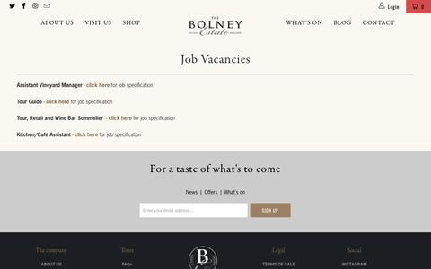 Screenshot of Jobs Page bolneywineestate.com - Job Vacancies - Bolney Wine Estate Limited - captured Aug. 3, 2018