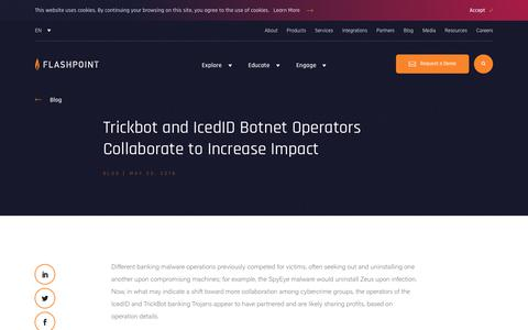 Screenshot of Blog flashpoint-intel.com - Flashpoint - Trickbot and IcedID Botnet Operators Collaborate to Increase Impact - captured Nov. 12, 2019
