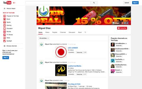 Screenshot of YouTube Page youtube.com - Miguel Diaz  - YouTube - captured Oct. 27, 2014