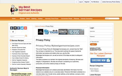 Screenshot of Privacy Page mybestgermanrecipes.com - Privacy Policy • Original Authentic German Recipes - captured June 24, 2016