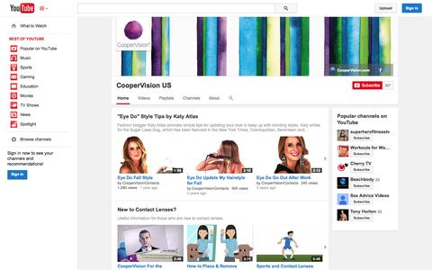 Screenshot of YouTube Page youtube.com - CooperVision US  - YouTube - captured Oct. 22, 2014