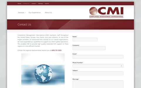 Screenshot of Contact Page complianceplace.com - Contact Us «  Compliance Management International - captured Sept. 29, 2018