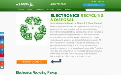 Screenshot of Services Page allgreenrecycling.com - Electronics Recycling Pickup | E-Waste Dropoffs & Disposal - captured Jan. 19, 2016