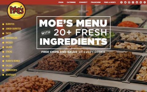 Screenshot of Menu Page moes.com - Mexican & Tex Mex Food: Tacos, Burritos & More   Moe's Menu - captured May 6, 2017
