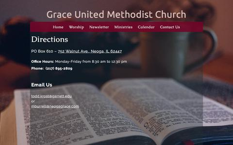 Screenshot of Contact Page neogagrace.com - Contact Us «  Grace United Methodist Church - captured Nov. 3, 2017