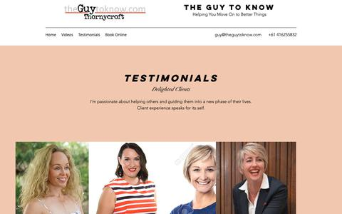 Screenshot of Testimonials Page theguytoknow.com - Testimonials | The Guy to Know - captured Oct. 20, 2018