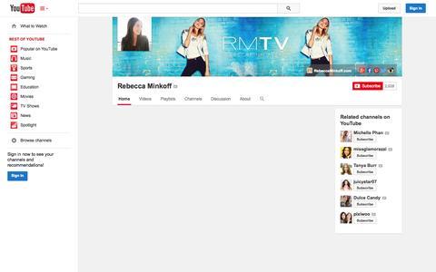 Screenshot of YouTube Page youtube.com - Rebecca Minkoff  - YouTube - captured Oct. 25, 2014