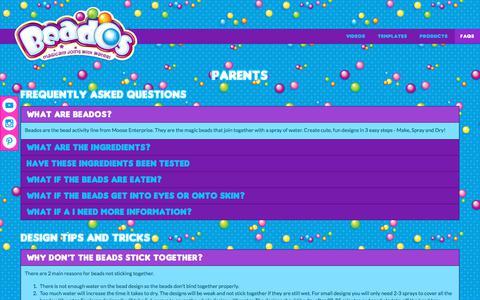 Screenshot of FAQ Page beadosbeads.com - Parents   Beados   Moose Toys - captured Oct. 21, 2017