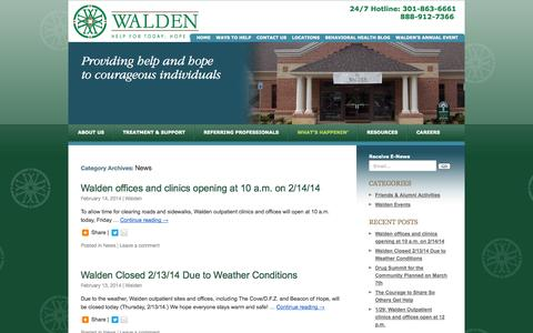 Screenshot of Press Page waldensierra.org - News | Walden Behavioral Health | Walden Behavioral Health - captured Oct. 27, 2014