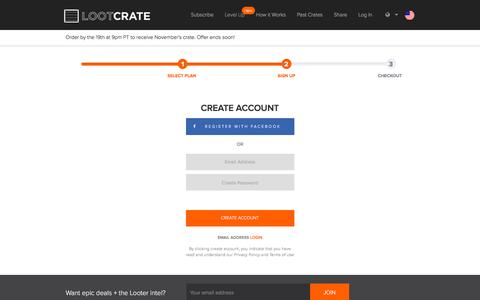 Screenshot of Login Page lootcrate.com - Login or Create a Loot Crate™ Account - captured Oct. 20, 2015