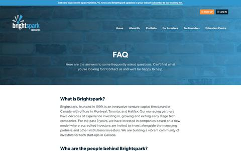Screenshot of FAQ Page brightspark.com - Frequently Asked Questions | Brightspark Ventures - captured June 3, 2017
