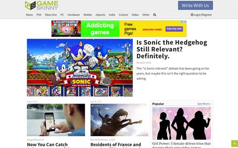 Screenshot of Home Page gameskinny.com - Video Game News, Cheats, Guides, Walkthroughs, Videos, Reviews & Culture - captured Aug. 28, 2016