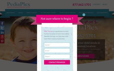 Screenshot of Home Page pediaplex.net - Child Development and Pediatric Therapy in Dallas/Fort Worth - PediaPlex - captured Dec. 7, 2015
