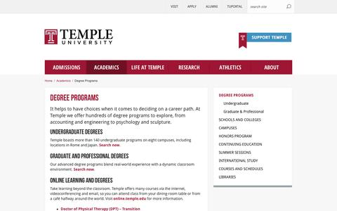 Degree Programs | Temple University