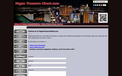 Screenshot of About Page Contact Page vegastreasurechest.com - Contact us at VegasTreasureChest.com - Online and Mobile Casino Listings - VegasTreasureChest.com - captured Oct. 25, 2014
