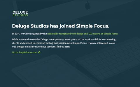 Screenshot of Home Page delugestudios.com - Web Design Memphis, Tennessee | SEO, CMS & Branding Development by Deluge Studios - captured Aug. 6, 2018