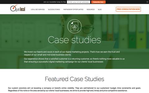 Screenshot of Case Studies Page optilocal.org - Successful SEO and Web Development Case Studies - OptiLocal - captured June 18, 2017