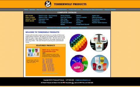 Screenshot of Home Page timberwolfplastics.com - Timberwolf Products - Custom printed plastic cups, buckets, bottles mugs and more! - captured Oct. 3, 2014