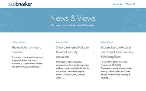 Screenshot of Press Page silobreaker.com - News & Views - Silobreaker - captured Aug. 30, 2016