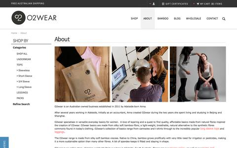 Screenshot of About Page o2wear.com - About Us - Bamboo Clothes - O2wear Australia Online Store - captured Jan. 10, 2016