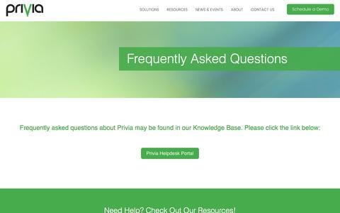 Screenshot of FAQ Page privia.com - FAQ - captured May 9, 2017