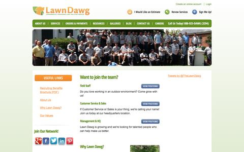Screenshot of Jobs Page lawndawg.com - Careers in Lawn, Tree and Pest Services - captured Dec. 8, 2015