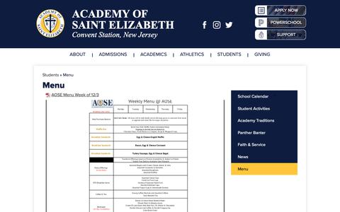 Screenshot of Menu Page aosenj.org - Menu – Students – Catholic School - Morristown, NJ - Academy of St. Elizabeth - captured Dec. 2, 2018