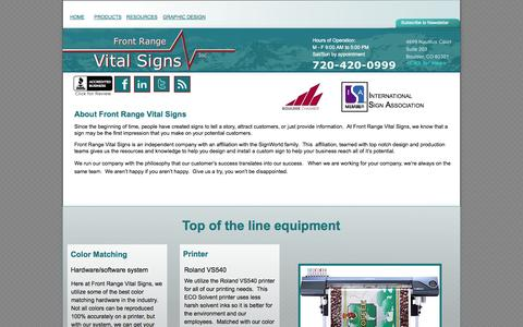 Screenshot of About Page frontrangevitalsigns.com - Front Range Vital Signs - About Us - captured Sept. 30, 2014