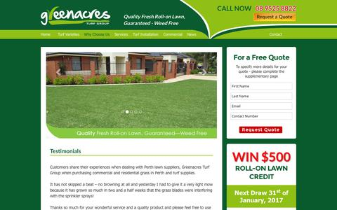 Screenshot of Testimonials Page greenacresturfgroup.com.au - Perth Lawn Suppliers | Residential Grass Perth | Greenacres Turf Group - captured Jan. 25, 2017