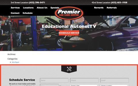 Screenshot of Blog premiercarcare.net - AutoNet TV | Premier Car Care - captured Nov. 9, 2016