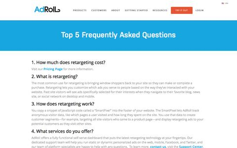 Screenshot of FAQ Page adroll.com - AdRoll FAQ | Common retargeting questions - captured Jan. 8, 2016