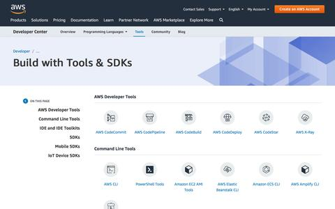 Screenshot of Developers Page amazon.com - Tools & SDKs | AWS Developer Center - captured June 27, 2019