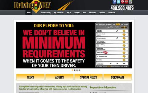 Screenshot of Home Page drivingmba.com - Driving MBA - The Valley Leader in Driver Training & Education - captured Sept. 30, 2014