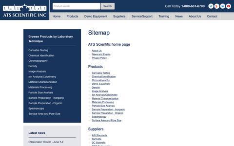 Screenshot of Site Map Page ats-scientific.com - Sitemap - ATS Scientific - captured July 28, 2018