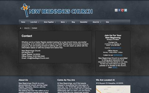 Screenshot of Contact Page newbeginchurch.com - Contact - New Beginnings Church - captured Feb. 14, 2016