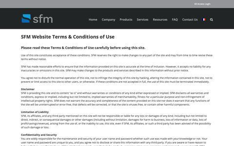 Screenshot of Terms Page sfm.ca - Terms of Use – SFM - captured Nov. 11, 2018