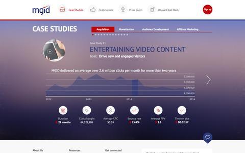 Screenshot of Case Studies Page mgid.com - MGID: Native Advertising Marketplace - captured Dec. 2, 2015