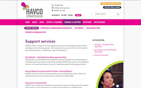 Screenshot of Support Page havcoharingey.org.uk - Support services - HAVCO - captured Oct. 2, 2014