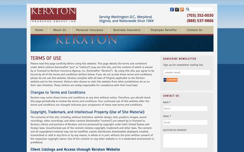 Screenshot of Terms Page kerxton.com - Website Terms of Use from Kerxton Insurance - captured Sept. 24, 2016