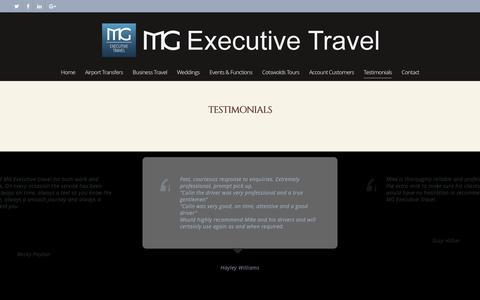 Screenshot of Testimonials Page mgexecutivetravel.co.uk - Testimonials - MG Executive Travel - captured July 20, 2016