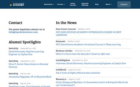 Screenshot of Press Page nycdatascience.com - Interviews & News | NYC Data Science Academy - captured July 5, 2019