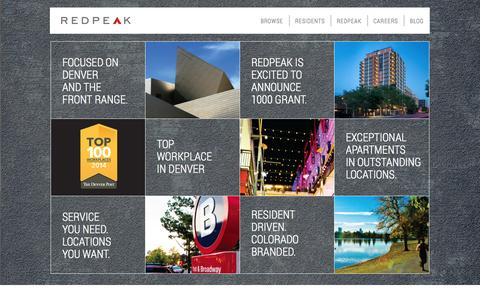 Screenshot of Home Page redpeak.com - Denver Apartments | Find Apartments in Denver at RedPeak PropertiesFind Apartments in Denver and the Front Range RedPeak Properties - captured Oct. 7, 2014