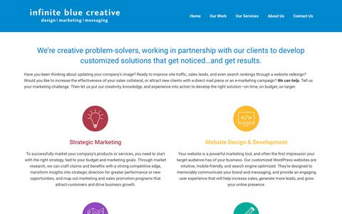 Screenshot of Services Page infinitebluecreative.com - Branding, design, and website services | Infinite Blue Creative - captured Nov. 6, 2018