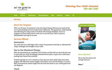 Screenshot of Services Page integrative-learning.com - Services and Help for Children with Learning Disabilities - captured Aug. 6, 2016