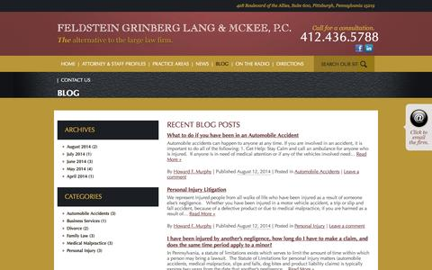 Screenshot of Blog fglmlaw.com - Feldstein Grinberg Lang & McKee, P.C., A Professional Corporation - captured Oct. 5, 2014