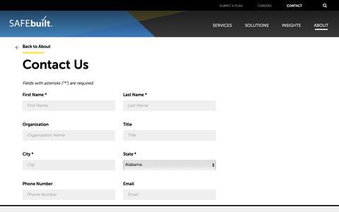 Screenshot of Contact Page safebuilt.com - Contact Us - SAFEbuilt - captured March 29, 2019