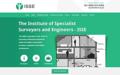 Screenshot of Home Page isse.org.uk - The Institute of Specialist Surveyors and Engineers - ISSE - Better Standards, Better Teaching, Better Surveyors - captured Oct. 6, 2014